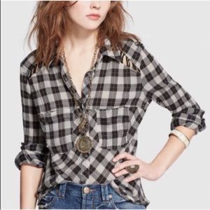 FREE PEOPLE PLAID LACE UP SHOULDERS SHIRT